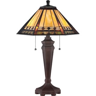 Tiffany-style Arden 2-light Vintage Bronze Table Lamp