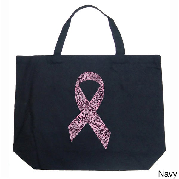 LA Pop Art Breast Cancer Ribbon Shopping Tote Bag