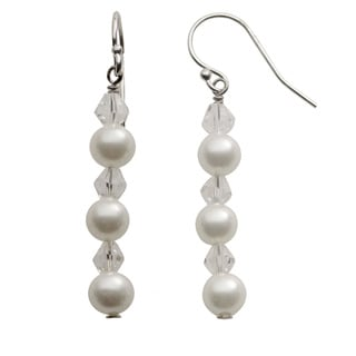 Pearls For You Sterling Silver White Shell Pearl and Crystal Drop Earrings (6 mm)