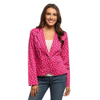 Live A Little Women's Pink Polka Dotted One-button Blazer
