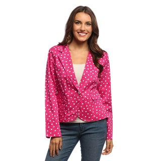 Women's Pink Polka Dotted One-button Blazer