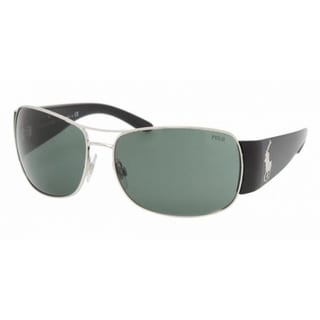 Polo Ralph Lauren PH3042 Matte Silver/Green Sunglasses