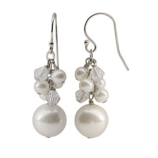 Pearls For You Sterling Silver White Shell Pearl & Chinese Crystal Dangle Earrings (10 mm, 4 mm)