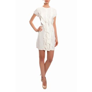 BCBG MAXAZRIA Women's White Silk Ruffle Cocktail Party Dress