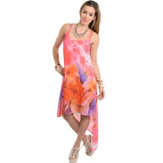 Feellib Women's Watercolor Floral-print Dress