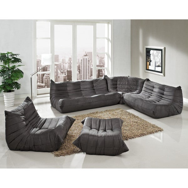Sectional Gray Sofa Set: Waverunner Modular Light Grey 5-piece Sectional Sofa Set