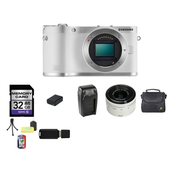 Samsung NX300M Mirrorless White Digital Camera Body with 20-50mm ED II Lens 32GB Bundle