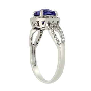 Gioelli Jenne Sterling Silver Cushion-cut Created Gemstone and Created White Sapphire Ring