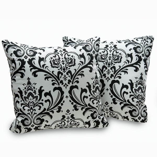 Black And White Patterned Throw Pillows : Arbor Black and White Damask Decorative Throw Pillows (Set of 2) - 16174999 - Overstock.com ...