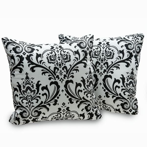 Black And White Decorative Throw Pillows : Arbor Black and White Damask Decorative Throw Pillows (Set of 2) - 16174999 - Overstock.com ...
