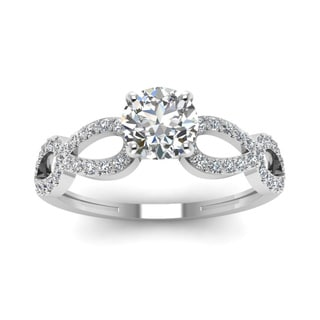 14k White Gold 5/8ct TDW Round-cut Micro Pave Diamond Engagement Ring (H-I, SI1-SI2)
