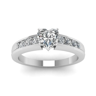 14k White Gold 1/2ct TDW White Diamond Heart Shaped Diamond Engagement Ring (G-VS2)