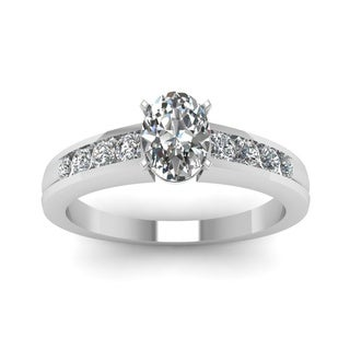 14k White Gold 3/5ct TDW Oval-shaped White Diamond Engagement Ring (G-VS2)