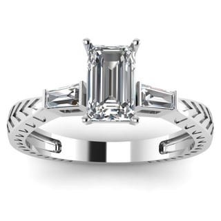 14k White Gold 1/3ct TDW White Emerald-cut Diamond Heirloom 3-stoneEngagement Ring (VS2-G)
