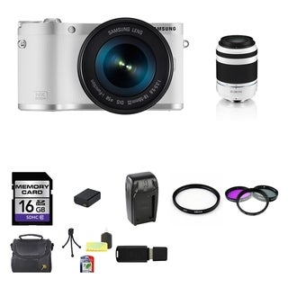 Samsung NX300M Mirrorless White Digital Camera Body with 18-55mm OIS Lens and 50-200mm ED OIS II Lens 16GB Bundle
