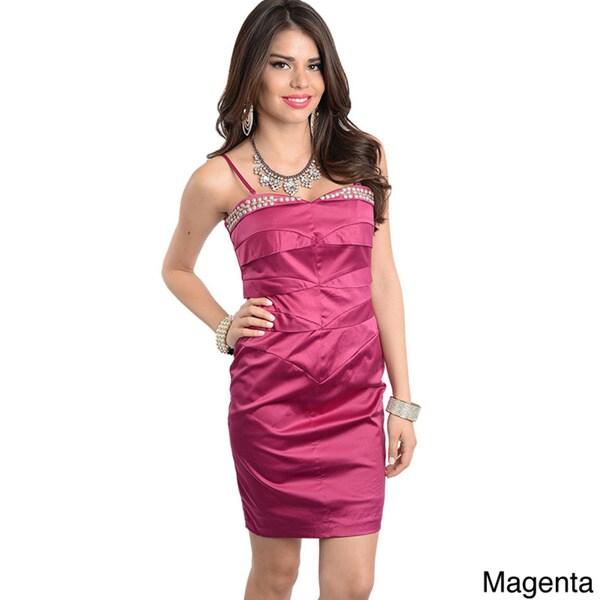Shop The Trends Women's Studded Sweetheart Short Dress