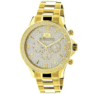 Luxurman Men's Liberty Diamond 0.2ct Yellow Gold-plated Watch with Metal Band and Extra Leather Straps