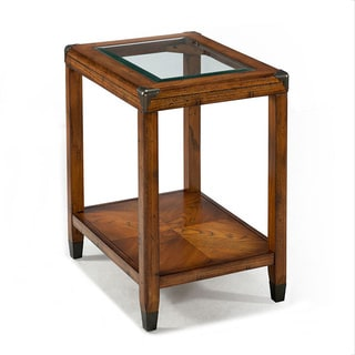 Emerald Oak and Glass Top Chair Side Table