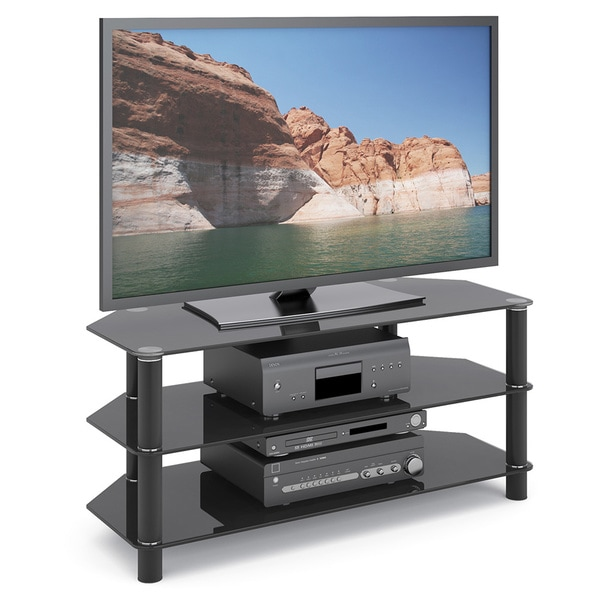 CorLiving Trinidad Black Glass Television/ Component Stand