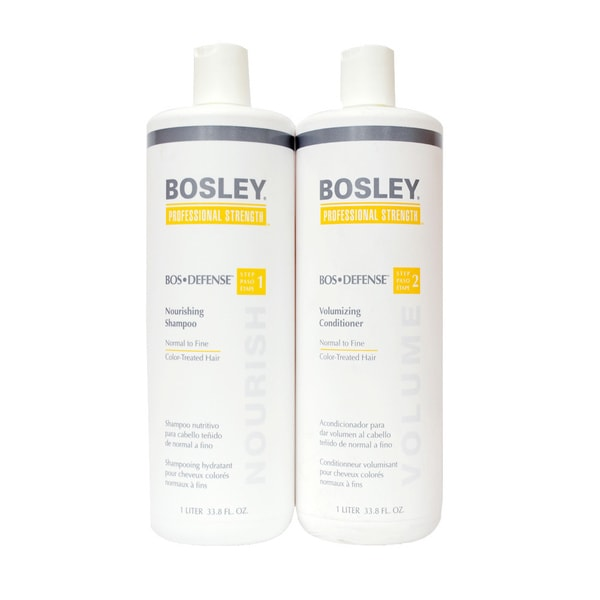 Bosley Defense Nourishing Shampoo and Volumizing Conditioner For Color Treated Hair Liter Duo