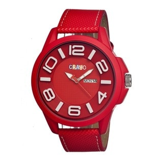 Crayo Men's 'Horizon' Red Leather Analog Watch