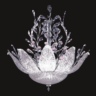 Blossom 12-light Crystal and Etched Glass Chrome Chandelier
