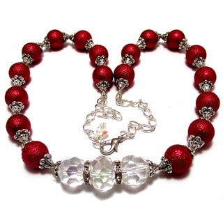 Red Textured Glass Pearl and Clear Crystal 4-piece Wedding Jewelry Set