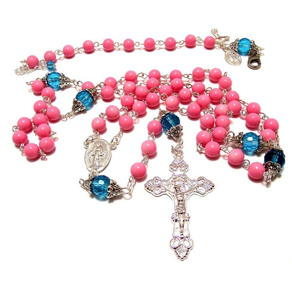 Aqua Crystal and Pink Glass Bead Rosary and Bracelet Set