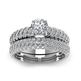 14k White Gold 4/5ct TDW Round Diamond Rope Design Bridal Ring Set (H-SI2)