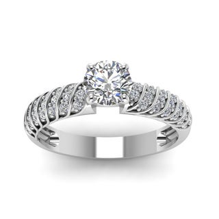 14k White Gold 3/5ct TDW Round Diamond Rope Design Engagement Ring (H-SI2)