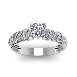 14k White Gold 3/5ct TDW Heart Shape Diamond Rope Design Engagement Ring (H-SI2)