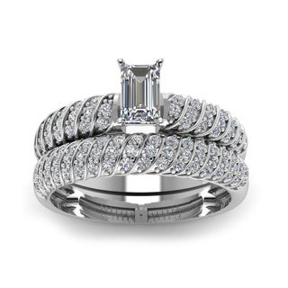 14k White Gold 4/5ct TDW Emerald-cut Diamond Bridal Ring Set (H-SI2)