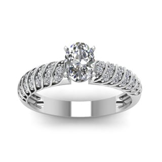 14k White Gold Oval Shape Diamond Rope Design Engagement Ring (H-I, SI2)