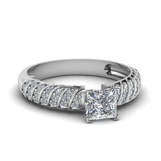 14k White Gold 3/5ct Princess Cut Diamond Rope Design Engagement Ring (H-SI2)