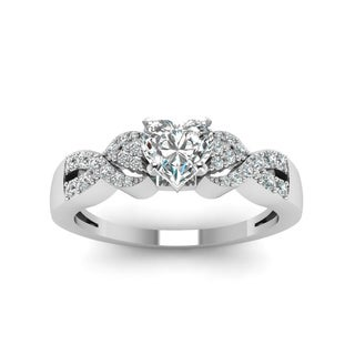 14k White Gold 5/8ct TDW Heart Shape Diamond Engagement Ring (H-SI2)