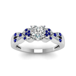 14k White Gold 5/8ct Heart-shaped Diamond Blue Sapphire Engagement Ring (H-SI2)
