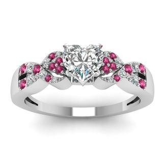 14k White Gold 5/8ct TDW Heart Shape Diamond and Pink Sapphire Ring (H, SI2)