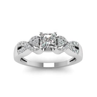 14k White Gold 5/8ct TDW Princess-cut Diamond Braided Engagement Ring (H-SI2)