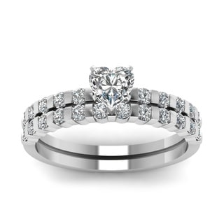 14k White Gold 3/4ct TDW Heart Shape Bar-set Diamond Bridal Ring Set (H-SI2)