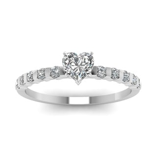 14k White Gold 1/2ct TDW Heart Shape Diamond Engagement Ring (I-SI2)