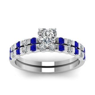 14k White Gold 3/4ct TDW Heart Shape Diamond and Blue Sapphire Ring (I, SI2)