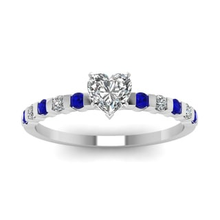 14k White Gold 1/2ct TDW Heart Shape Diamond and Blue Sapphire Ring (H-SI2)