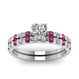 14k White Gold Heart-shaped 5/8ct TDW Diamond Bar-set Pink Sapphire Bridal Set (H-SI2)