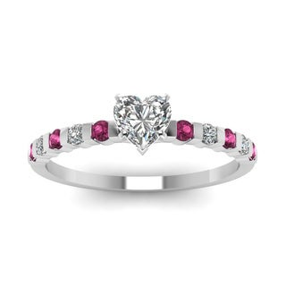 14k White Gold 1/2ct TDW Heart Shape Diamond Pink Sapphire Ring (H-SI2)
