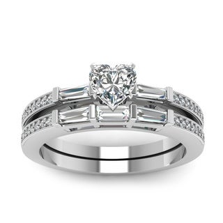 14k White Gold 4/5ct TDW Heart Shape Diamond Bridal Set (H-SI2)