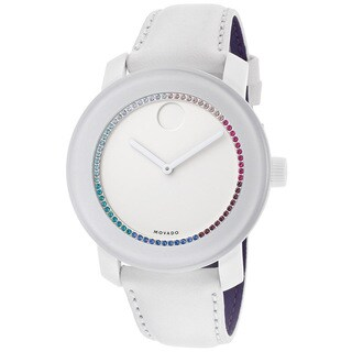 Movado Bold 3600180 Large White Leather Watch