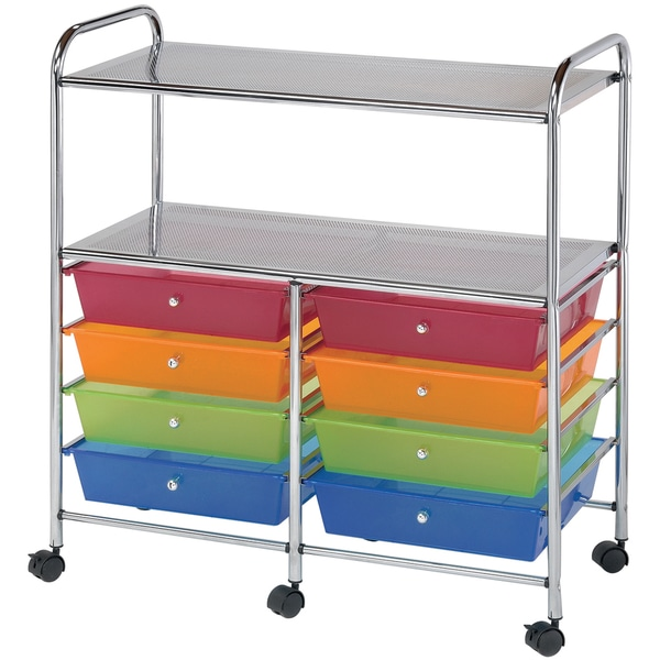 Double Storage Cart W/8 Drawers-Multicolor