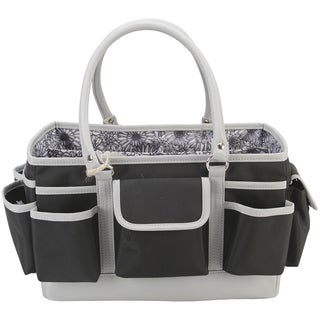 Mackinac Moon Open Top Craft Tote Black Floral