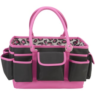 Mackinac Moon Open Top Craft Tote-Black Pink Animal Print