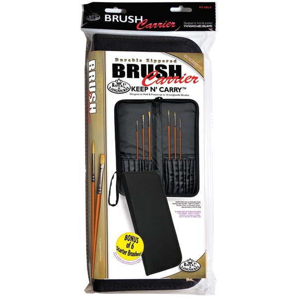 "Keep N' Carry Zippered Brush Carrier 12.5""X14.5""-Long Handle-Black"